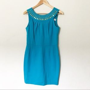 Trina Turk Turquoise Halter Neck Dress Size 8